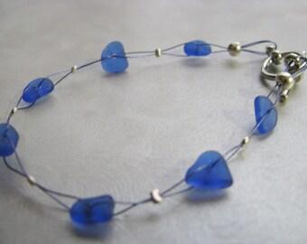 Sea Glass Bracelet , Beach Glass Bracelet , Cobalt Blue , Eco Friendly Bracelet