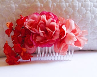 Pink and Orange Love Language Floral Hair Comb // High-End Fashion Accessories / Luxury Hair Styling Headpiece for Women / Couture Tiara
