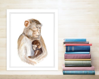 Jungle Nursery Art, Mom and Baby Animal Print, Monkey Gift, Jungle Animal, Mom Gift, Monkey Print, Gift for New Mom, Monkey Painting