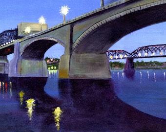 Market Street Bridge and Walnut Street Bridge. Chattanooga. Painting Print.