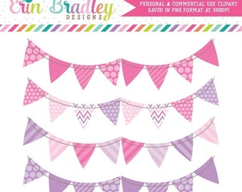 80% OFF SALE Banner Flag Clipart Pink and Purple Bunting Commercial Use Clip Art Graphics