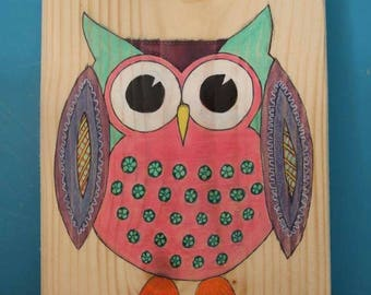 Owl painting on wood -mixed media handmade original