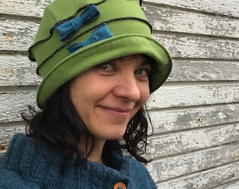 Flapper Cloche Hat- Organic Jersey - Avocado- Emma Rose