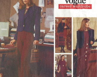 90s Womens Above Hip Jacket, Winter Dress, Top, Skirt and Pants Vogue Sewing Pattern 1265 Size 12 14 16 Bust 34 36 38 UnCut