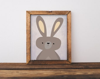 Printable Wall Art, Woodland Rabbit art, Baby Boy baby girl Nursery decor, Forest Animal print, Nursery art, Bunny Rabbit, Easter print