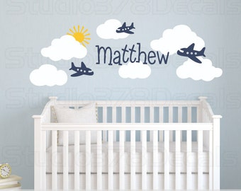 Airplanes and Clouds Nursery Wall Decals - Airplane Room Decor - Baby Nursery Vinyl Wall Decal - Childrens Decor - Aviation Room Wall Decals
