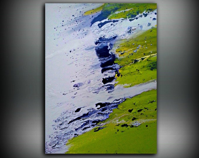 """Art Painting Acrylic Paintings Abstract painting Chartreuse LARGE Wall Art canvas Home Decor Fine Artby LDawningScott 30 x 40"""""""