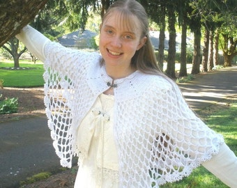 Elegant Crocheted Lacy Bridal Capelet with Bead Trim