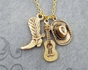 Cowboy Boot Necklace Guitar Necklace Cowboy Hat Necklace Cowboy Jewelry Boho Jewelry Bohemian Jewelry Country Music Gift Western Jewelry