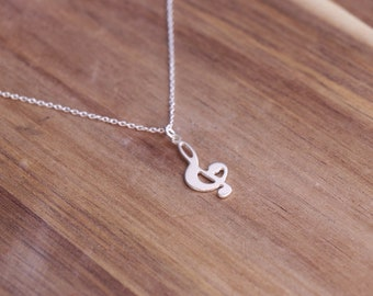 Treble Clef Silver Necklace - Musician Gift , Music Necklace, Charm Necklace, Delicate Necklace, Music Note Necklace