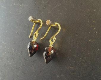 Garnet Earrings Red Maroon Earrings Faceted Earrings Gemstone Earrings Gift For Her Jewelry January Birthstone Birthday Present Fine Jewelry