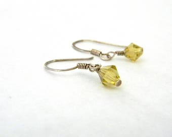 Sterling Silver Yellow Drop Earrings Bicone Glass Bead Earrings Simple Dangle Earrings