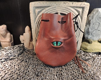 Dragon eye dice bag (Rust Brown leather with Green Eye)----New Style-----