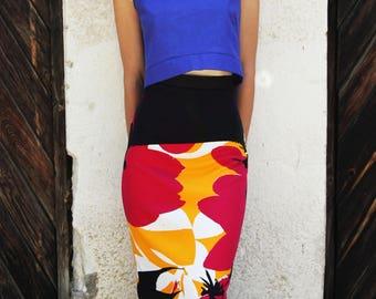 Tube  Skirt; Pencil Skirt; Midi Pencil Skirt; Adjustable Skirt;  Women Midi Skirt; Stretch Cotton Pencil Skirt; Floral Skirt; Designer Skirt