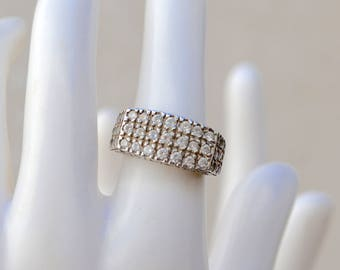 Suzanne Sommers Sterling Silver Pave Crystal Ring Vintage