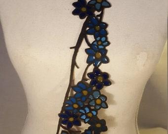 flower tie blue, art tie, necklace for men, art necklace, designer tie, statement tie, designer jewelry, funky art jewelry