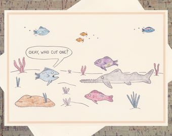 Just Because Card, Funny Greeting Card, Funny Friendship Card, Funny Just Because Card, Funny Card, Blank Greeting Card, Fish Card