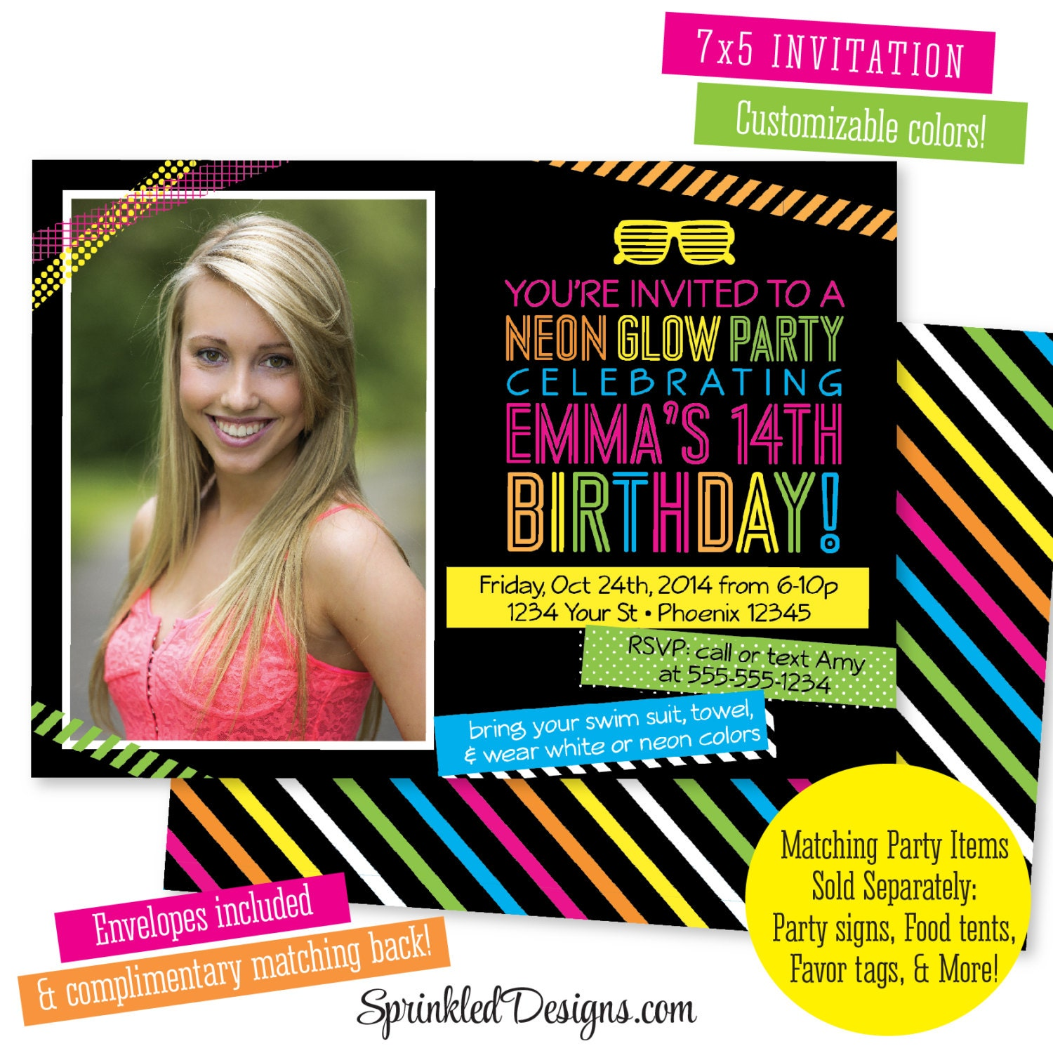 Neon Party Invitations Kids Teen Birthday Invitation Sweet