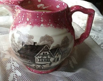 Lusterware pitcher.English cottage charming. Pink and brown