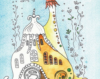 Coloring book Fantsy Houses - for adults and children