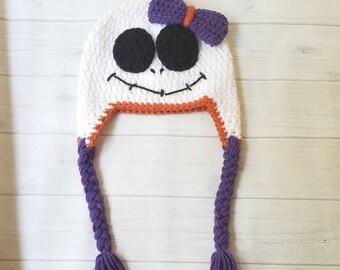 Crochet Baby Skeleton Hat, Baby Girl Halloween Hat, Crochet Baby Hat, Baby Holiday Hat, Skeleton Baby Hat