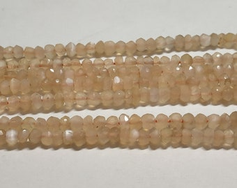 3 Strand Natural Pitch Moonstone Faceted Rondelle Beads, 3.5mm