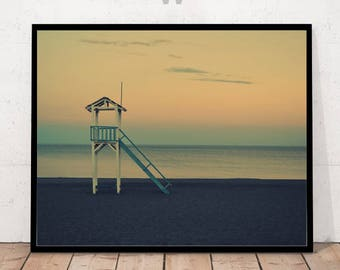 Art Print, Beach Print, Beach Art, Beach Hut Print, Beach Sunset, Photography Print, Sunset Print, Summer Print, Beach Photography, Sunset