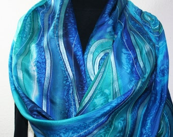 Silk Scarf Hand Painted. Blue, Teal Hand Dyed Silk Scarf CARIBBEAN SURF, Extra Large 22x72, Birthday Gift, ift-Wrapped