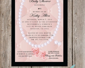 Designer inspired custom birthday invitations qty 25 100 chic designer inspired baby shower invitation printable or printed cc819 filmwisefo