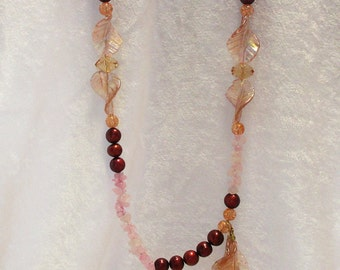 Pink, Red, and Peach Handmade Beaded Necklace (CC-0416-18)