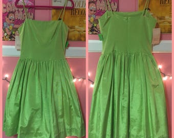 90s does 50s NOS lime green Tracy and Michael prom dress