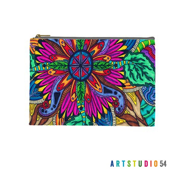 """Flower Pattern on a Pouch, Make Up, Cosmetic Case Travel Bag - Pink, Blue, Pastel - 9"""" X 6"""" -  Large -  Made by artstudio54"""
