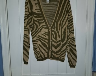 Tiger Woven Cardigan with basket weave buttons