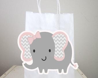 Elephant Goody Bags, Elephant Favor Bags, Elephant Gift Bags - Pink and Grey, Chevron Elephant, Girl Elephant