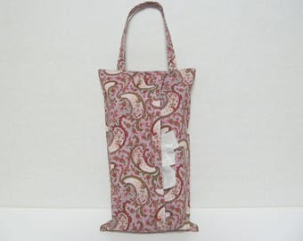 Hanging Tissue Box Cover For 85 Cout Kleenex/Pink Paisley