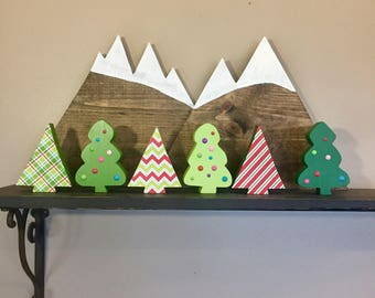 Mini Wood Christmas Trees - Whimsy and Triangle Wooden Christmas Trees, Christmas Decor