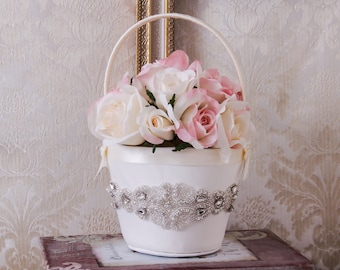 Flower Girl Basket, Flower Girls Baskets, White or Ivory Flower Basket, Wedding Basket, Flower Basket