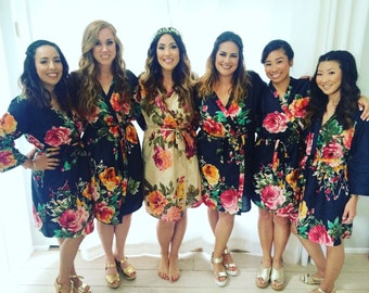 Navy Blue Large Floral Blossom Bridesmaids Robe Sets Kimonos. Bridesmaids gifts. Getting ready robes. Bridal Party Robes. Floral Robes.