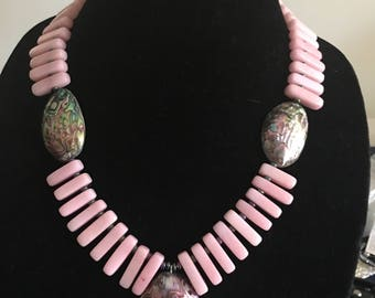 Pink Quartzite Stone and Abalone Shell Necklace by Dobka