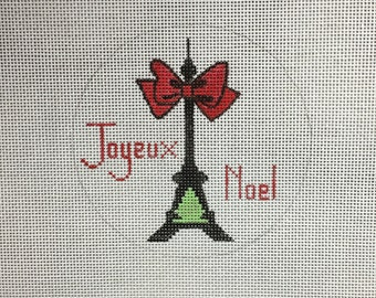 Hand Painted Joyeux Noel Ornament Needlepoint Canvas by MyPinkSugarLife
