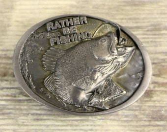 Rather Be Fishing Belt Buckle 1988 C And J Fish Outdoors Fisherman Vintage Lure