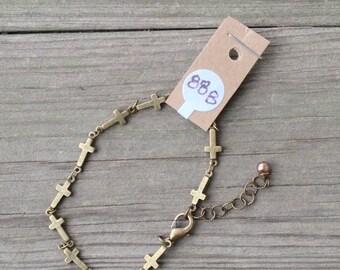 Sideways Cross Link Bracelet in Bronze