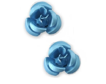 cabochon 2 metal turquoise flower beads x