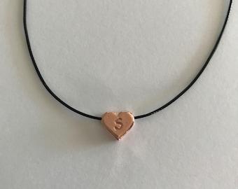 Rose gold 10mm monogram heart charm on wax cord