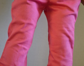 18 inch Doll Clothes - Pink Straight Leg Twill Jeans with real pockets - HOT PINK - fit American Girl