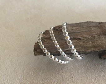 Domed Wire Stackable Silver Rings