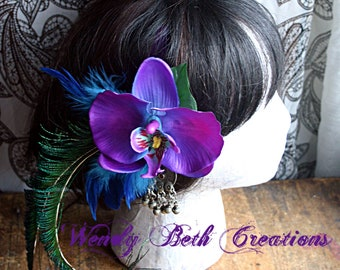 Plum Purple and Tuqouise Blue Orchid With Kuchi Medallion Hair Fascinator Clip - ATS, Tribal Fusion, Steampunk, Belly Dance, Pin Up, Wedding