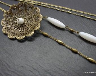 Necklace art deco flower, art deco long necklace