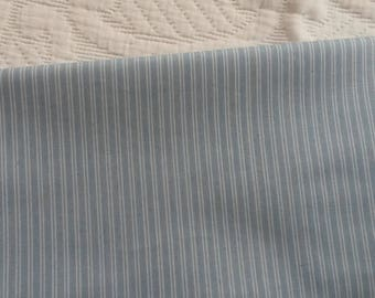 Striped blue chambray fabric coupon / 45 X 50 cm