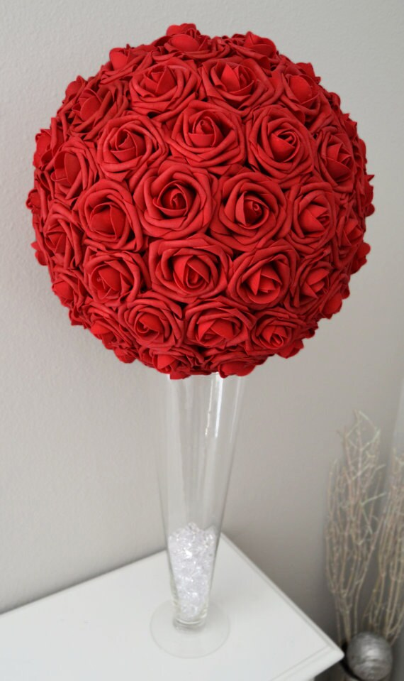RED Flower Ball. WEDDING CENTERPIECE. Kissing Ball. Pomander.